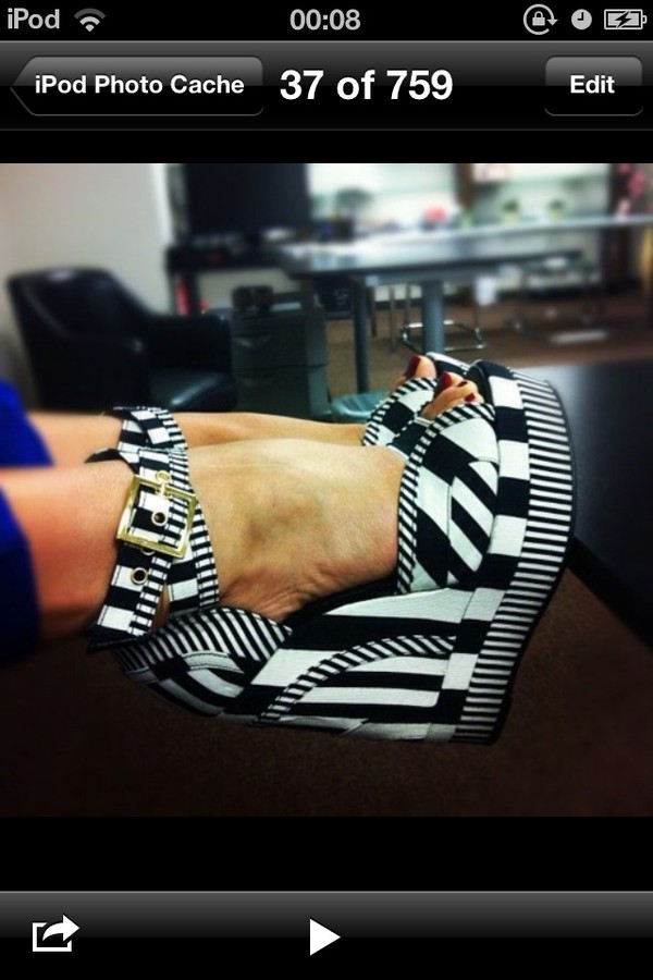 shoes black and white wedges