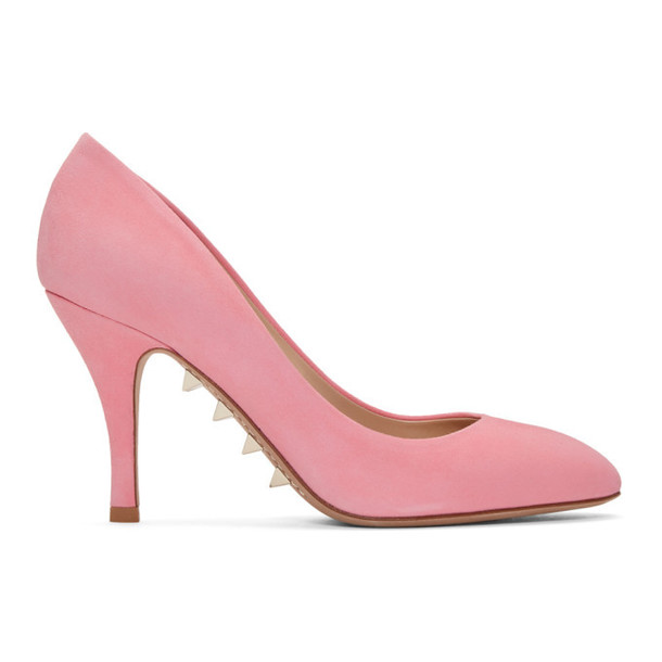 Valentino Pink Valentino Garavani Suede Sole Spike Pumps