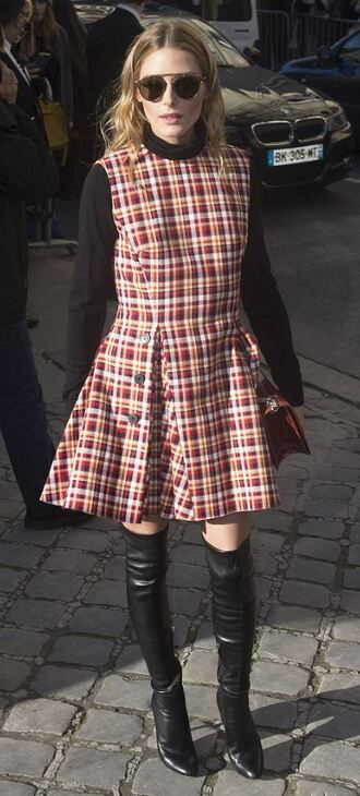 sunglasses fall dress plaid plaid dress boots olivia palermo fashion week 2016 dress