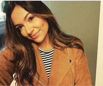 top bethany mota youtuber jacket light brown jacket brown stripes striped top brown leather jacket perfecto fall jacket suede jacket