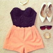 shoes,bustier,black,lace,black lace,lace bustier,black bustier,black lace bustier,pointed toe,white,flats,jewels,shorts,tank top,peach shorts black bustier strapless,t-shirt,peach shorts,top,orange shorts,love them,High waisted shorts,black top,crop tops,boob tube,bright