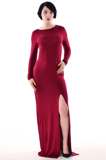 REXANE Long Sleeve Split Front Maxi Dress in Wine - Pop Couture