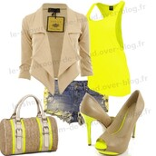 blouse,jacket,t-shirt,shorts,bag,coat,shoes,top,tank top,tan,outfit,heels,yellow,purse,clothes