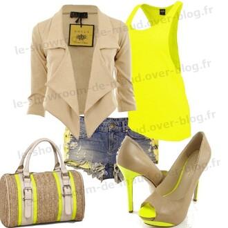 blouse jacket t-shirt shorts bag coat shoes top tank top tan outfit heels yellow purse clothes