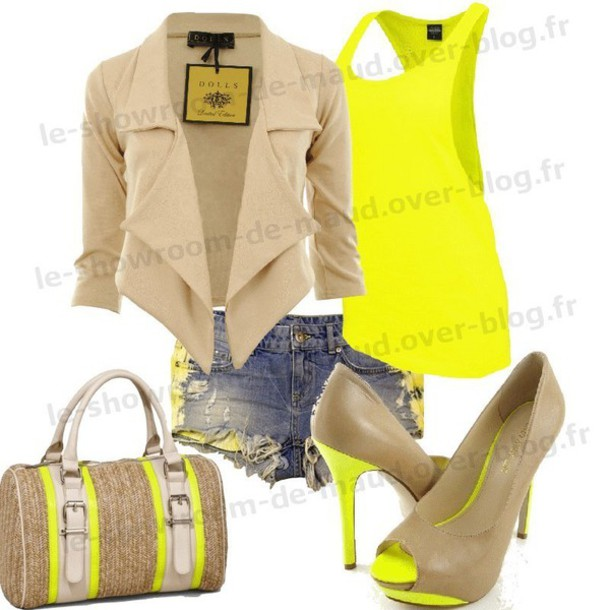 blouse jacket t-shirt shorts bag coat shoes top tank top tan outfit heels yellow purse clothes