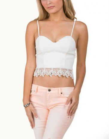 White Lace Trim Crop Top - New Arrivals