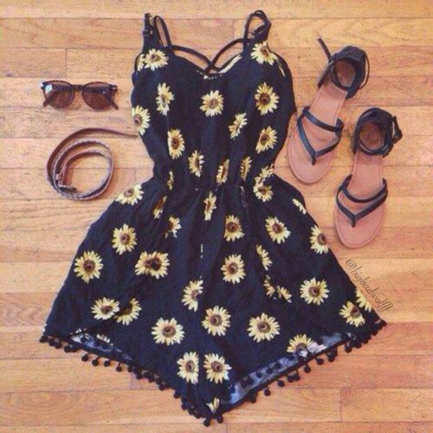 dress shoes sunflower dress sunflower floral dress flowers daisy dress romper jumpsuit outfit idea outfit summer outfits sunglasses sandals black romper sunflower romper floral floral romper flora print girly dress black style summer