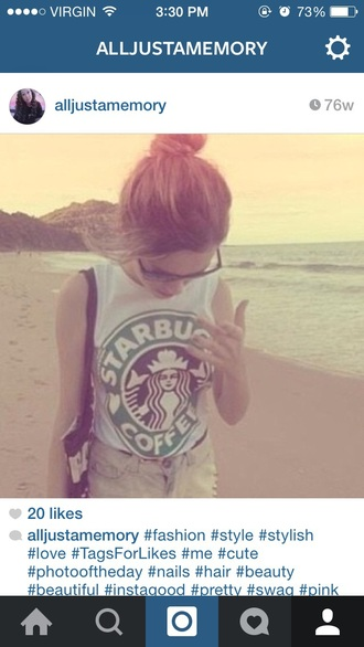 shirt starbucks coffee coffee green stars bucks tumbkr tumblr shirt tumblr top tumblr girl tumblr fashion tumblr post tumblr outfit