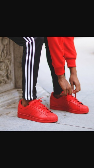 shoes trainers adidas trainers red trainers red shoes