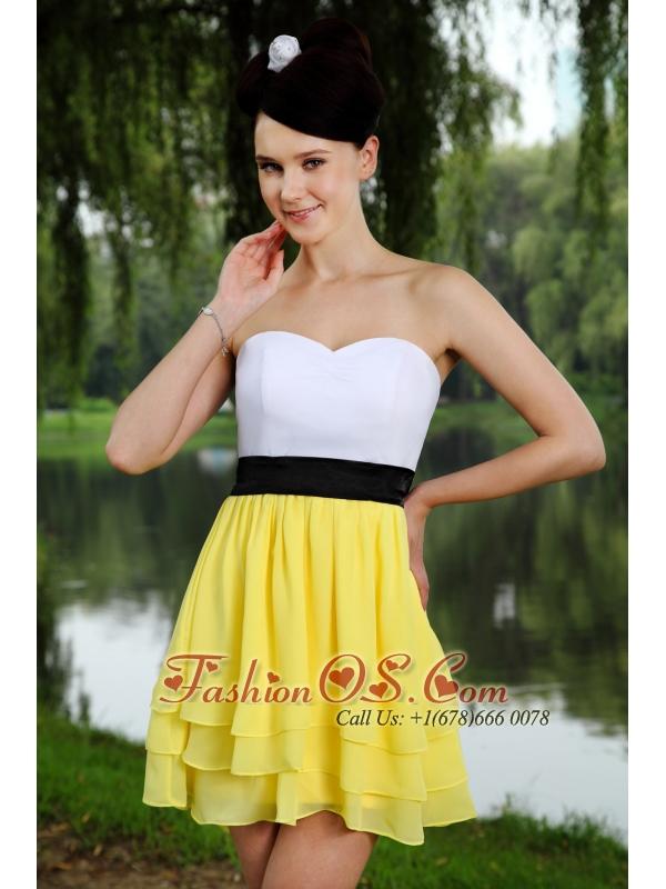 Yellow and White Empire Sweetheart Prom / Homecoming Dress Chiffon Sash Mini-length- $92.06