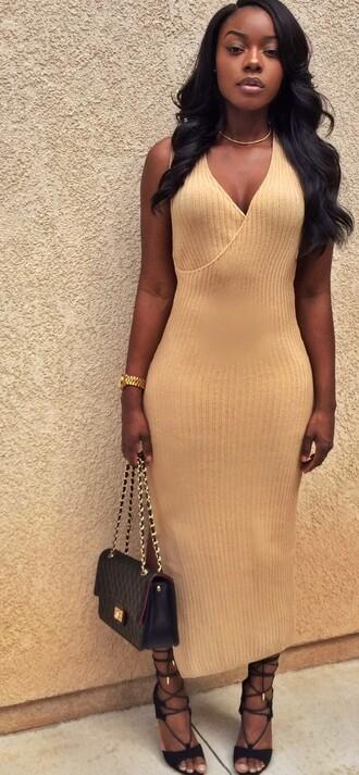 dress tan long dress stylish v-neck long sleeve solid color furcal t-shirt for women heels purse bag black