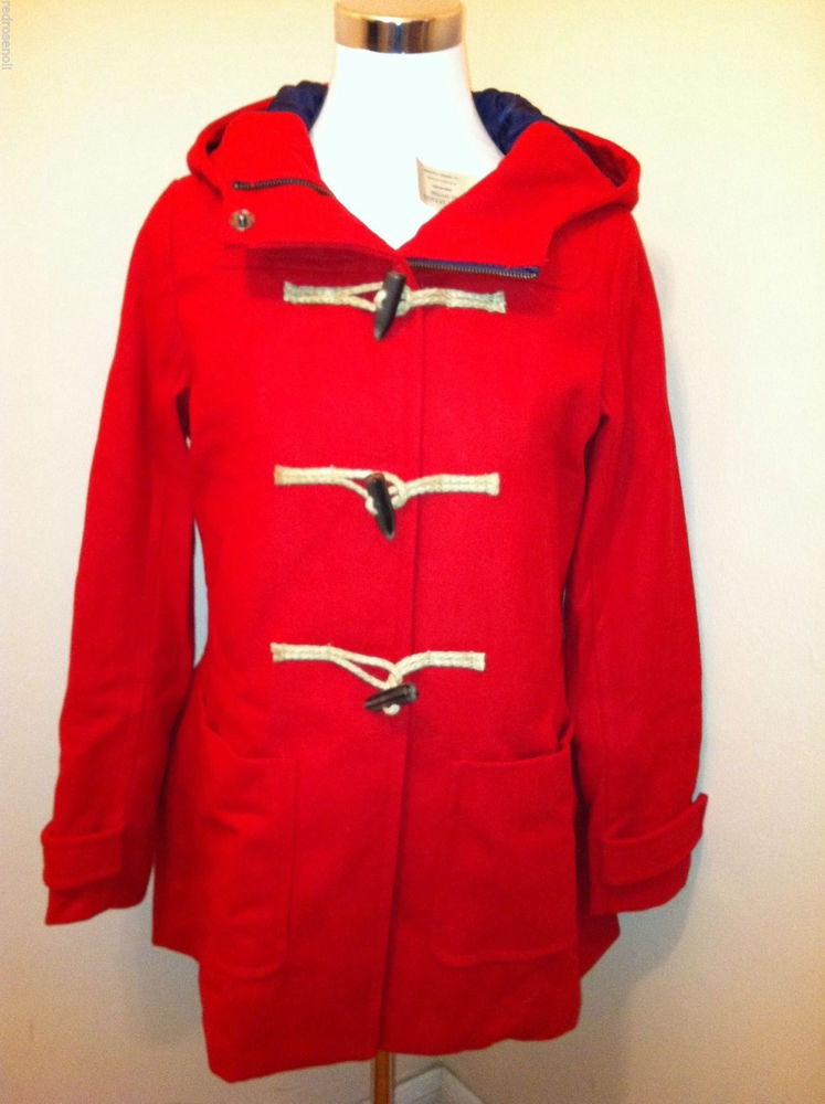 Eagle Womens Hooded RED Pea Coat Duffle Toggle Wool Coat XL Jacket NEW