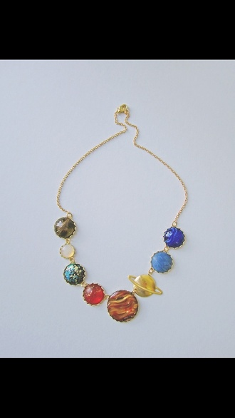 jewels galaxy print space planets colorful necklace solar system