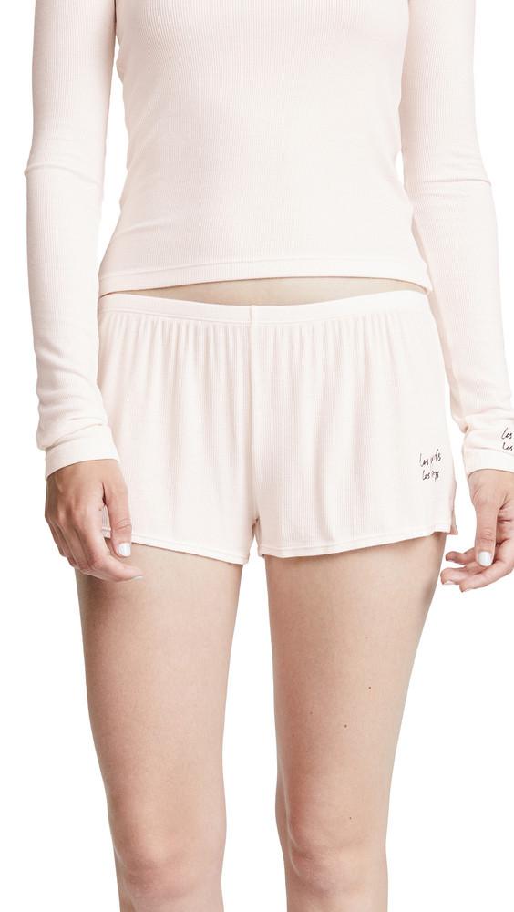 Les Girls, Les Boys Fine Rib Shorts in ecru