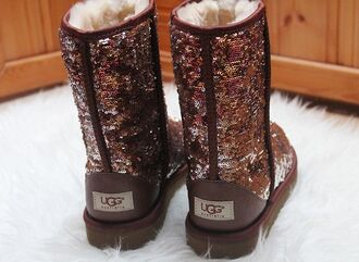 shoes ugg uggs sequin brown glitter snowboots snow brown sequin brown glitter ugg australia