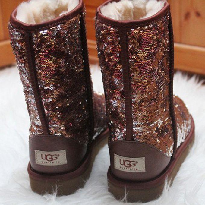 glitter ugg uggs brown snowboots snow brown sequin brown glitter ugg ...