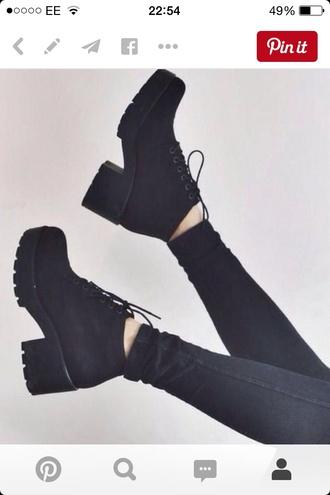 shoes black grunge platform shoes heels black heels