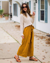 pants,tumblr,culottes,mustard,yellow pants,wide-leg pants,sweater,nude sweater,sunglasses,shoes,loafers