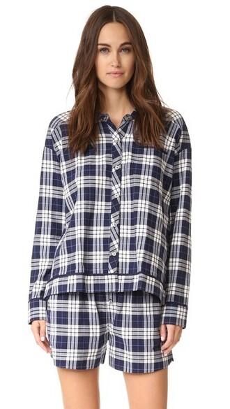 shirt plaid shirt plaid navy white top