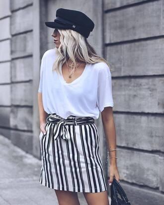 skirt tumblr mini mini skirt stripes striped skirt t-shirt white t-shirt hat swimwear