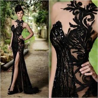dress black lace prom elegant slit see through 2015 prom dress dream dress flowers mermaid prom dress beautiful black dress