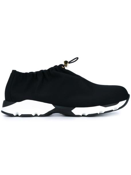 MARNI women drawstring sneakers leather black neoprene shoes