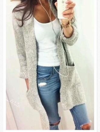 cardigan white pockets long cute pretty soft