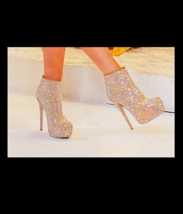 shoes booties gold sparkle heels high heels sparkle booties sparkle sparkly shoes diamonds fashion