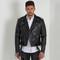 Classic leather biker jacket