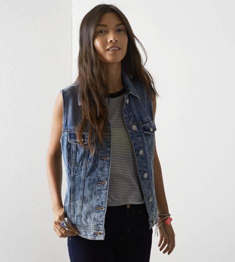 AEO Boyfriend Jean Vest, Medium Rinse | American Eagle Outfitters