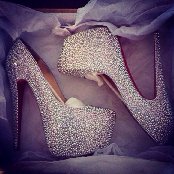 silver high heels christian louboutin stones