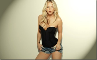 tank top black top kaley cuoco corset big bang theory cut off shorts sexy