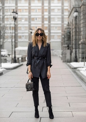 shoes boots black boots suede boots blazer black blazer belt cropped jeans ankle boots jeans black jeans