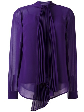 blouse bow pleated women purple pink top