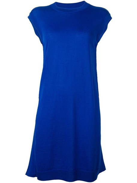 MAISON MARGIELA dress back women draped blue wool