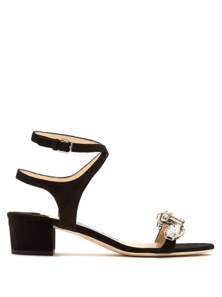 Jimmy Choo embellished sandals suede black shoes