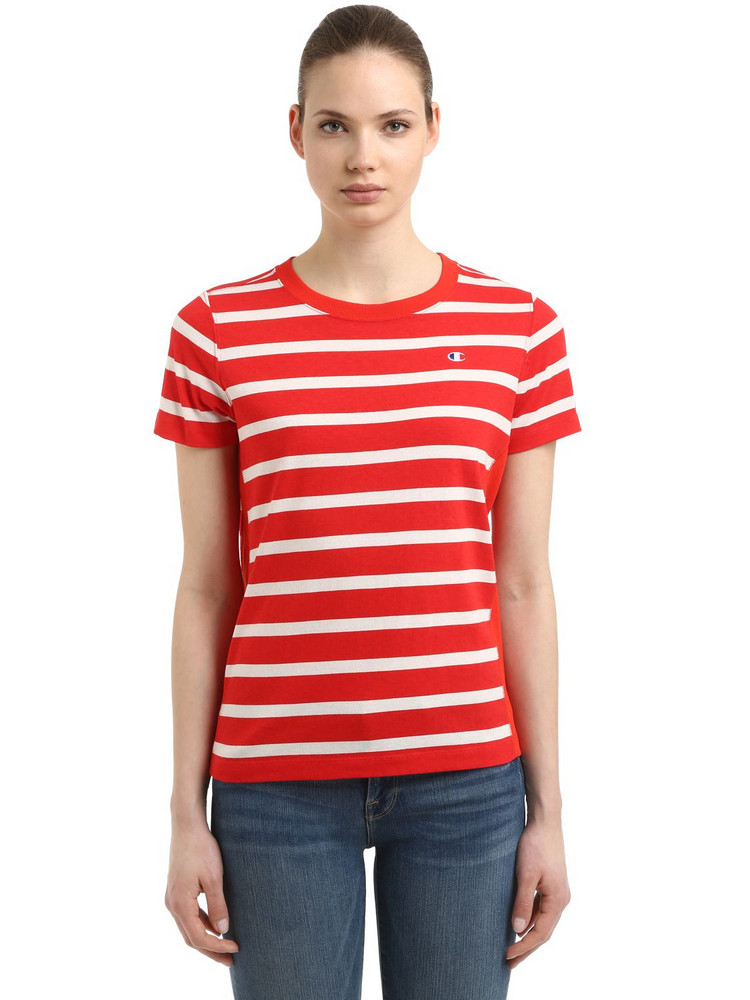 CHAMPION Logo Detail Striped Cotton T-shirt in red / white