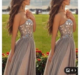 dress grey chiffon sweetheart prom dress