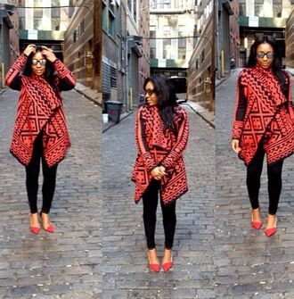 cardigan red cardigan red coat aztec