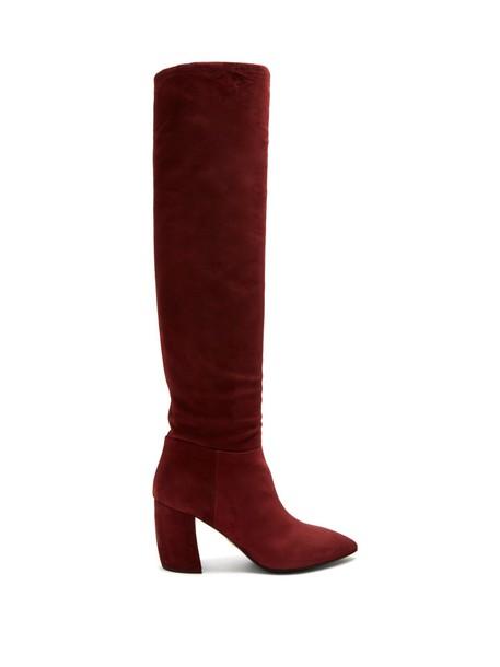 Prada knee-high boots high suede burgundy shoes