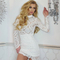Long sleeve scalloped crochet bandage dress white