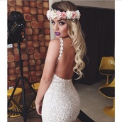 lace dress,off-white,backless dress,flower crown,make-up,beach wedding,wedding dress,lace wedding dress,white dress,floral,hair accessory,dress,backless,lace,white,sexy,bodycon dress,hippie,flower headband,backless prom dress,boho,boho wedding dress,homecoming dress,prom dress,prom gown,evening dress,cream dress,floral dress,ivory dress,jumpsuit