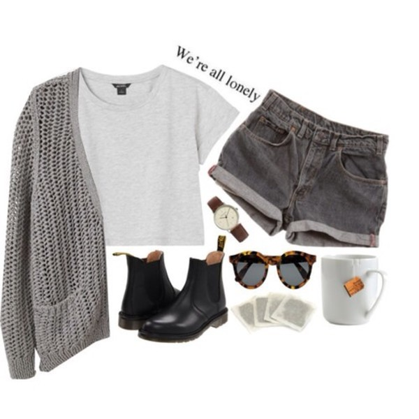 shorts lookbook doc martins DrMartens hipster grey sweater boots shoes shirt sunglasses cardigan