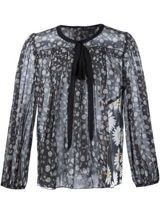 blouse daisy print black top