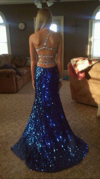 dress blue dress sparkly dress backless dress prom dress long prom dress