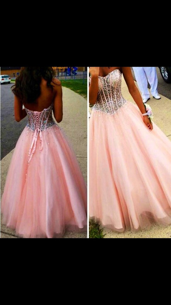 pink dress prom dress prom dress bling dress pink