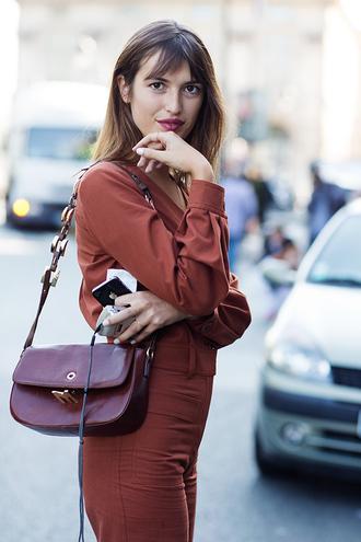 jumpsuit brown jumpsuit jeanne damas bag brown bag fashionista brunette