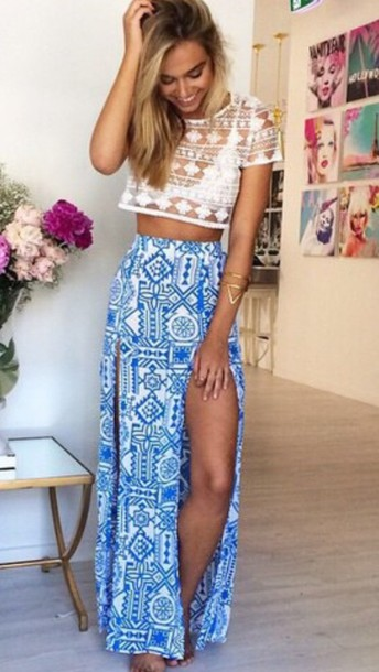 blouse skirt vacation outfits maxi skirt blue white pattern holidays summer summer beauty summer holidays pretty boho festival flowy