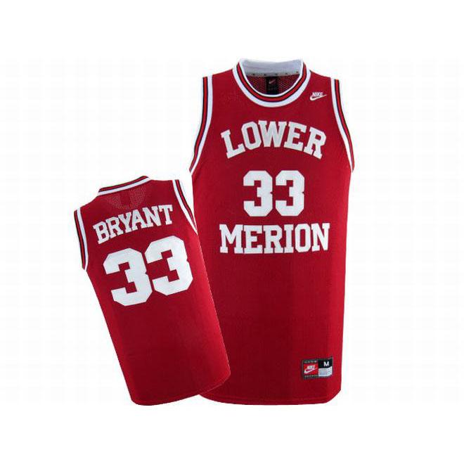 Lower Merion Kobe Bryant #33 Red Nike Jersey White Number