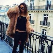 fur,fur coat,black top,tank top,skinny jeans,dark blue